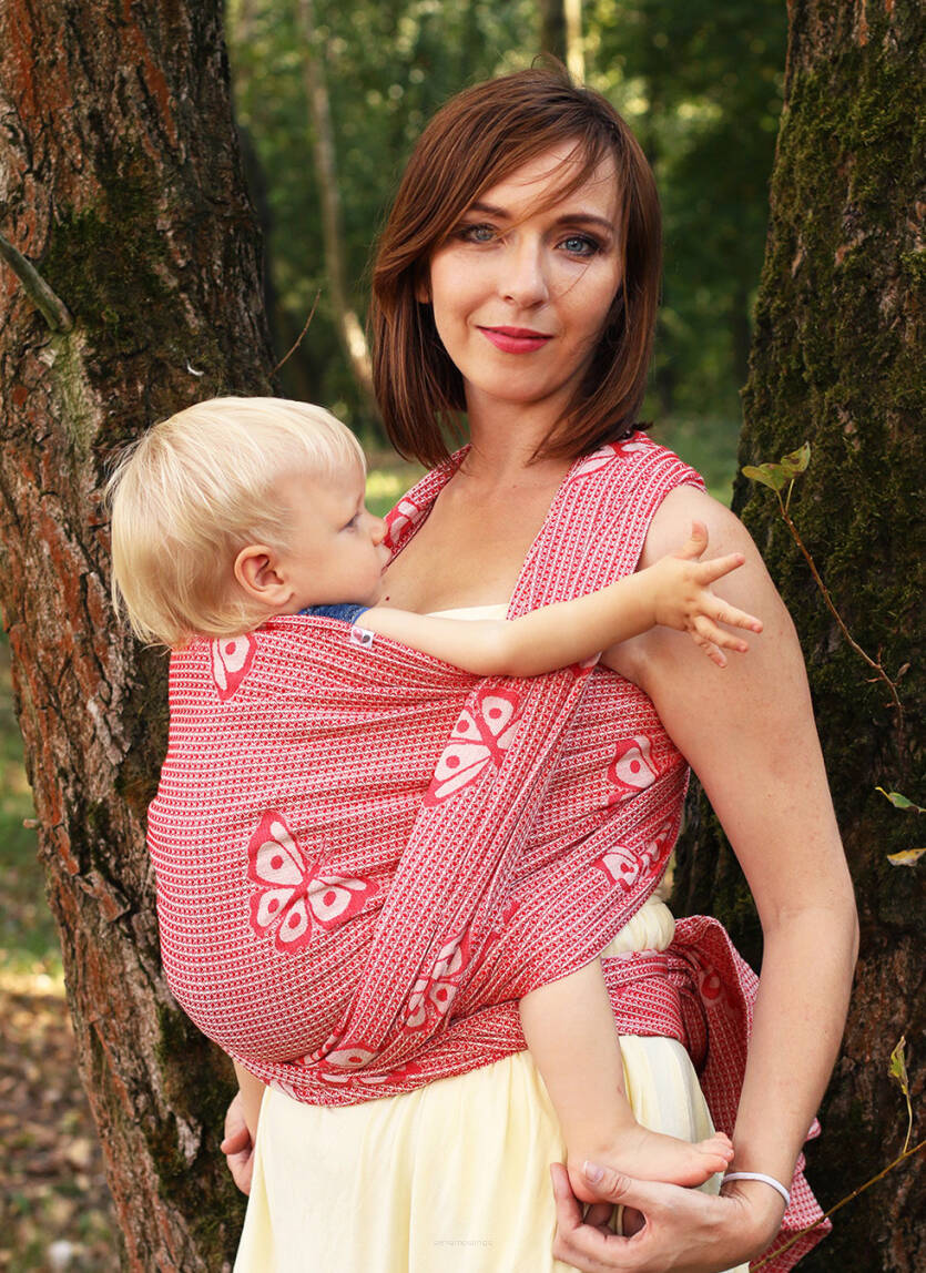 Jacquard baby wrap   Happy Butterfly Wine  r/s