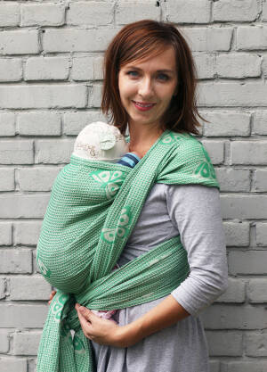 Jacquard baby wrap. M. Happy Butterfly Light Jadeide
