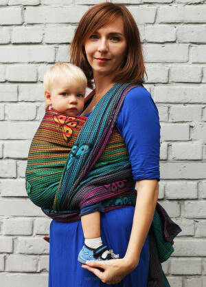 Jacqurd baby wrap. XS. Happy Butterfly Rainbow