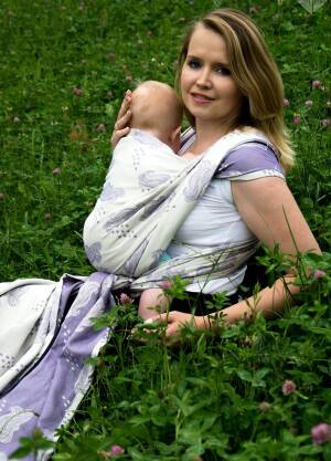 Baby Wrap Ring Sling RainKiss Wisteria