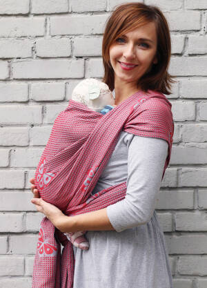 Jacquard baby wrap  Happy Butterfly Red  s.6
