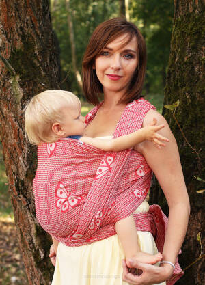Jacquard baby wrap   Happy Butterfly Wine  s.6