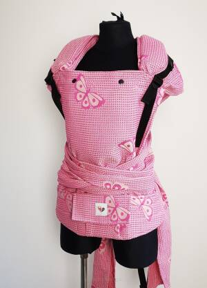 Freely grow hybrid. Baby carrier.Happy butterflies Pink.