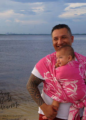Jacquard baby wrap   Dolphins Pink Nova  R/S